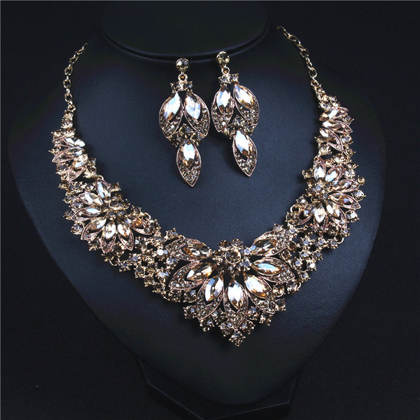 Shinning Champagne Bridal Jewelry Sets Necklace Earrings Bridal