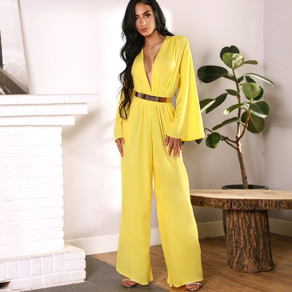 2018 Autumn Yellow Flared Sleeve Elegant Jumpsuit Ruched Plunge Wide Leg Jumpsuit Loose Overalls Rompers