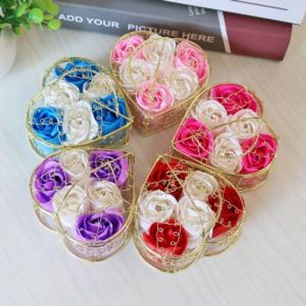Handmade Scented Rose Soap Box Flower Romantic Bath Body Soap Rose with Gilded Basket For Valentine Wedding Gift VVA241