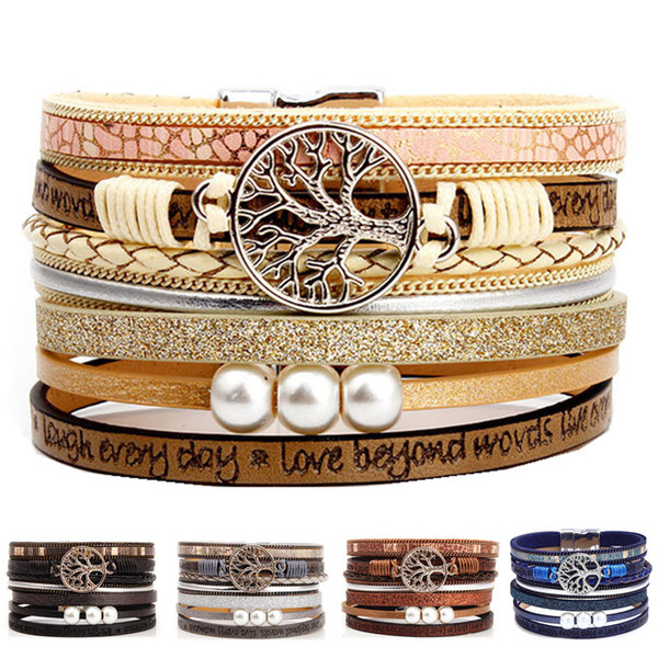 Boho Multilayer Tree of Life Leather Wide Cuff Handmade Wristbands Wrist Braided Magnetic Buckle Casual Pearl Bangle Bracelet for Women Girl