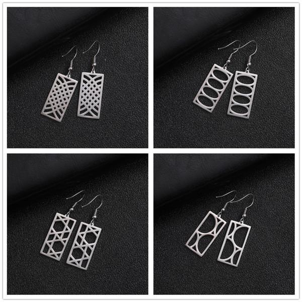 Mi forma Pendientes largos cuadrados de acero inoxidable Pendientes colgantes huecos geométricos vintage Joyas de oreja Oro Negro Estilo étnico