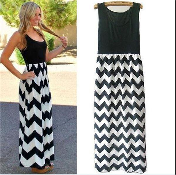 Maxi Dress Fashion Womens Summer Elegantes Wellenmuster und Sleeveless Party Dress Hot Womens runder Kragen und schlanker Rock