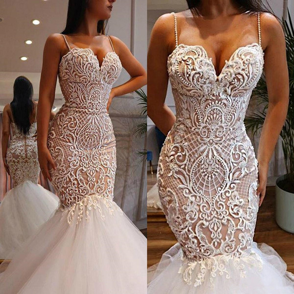 2019 Vintage Lace Mermaid Wedding Dresses Spaghetti Strap Sweetheart Neckline Bridal Gowns Trumpet Beads Vestido De Novia