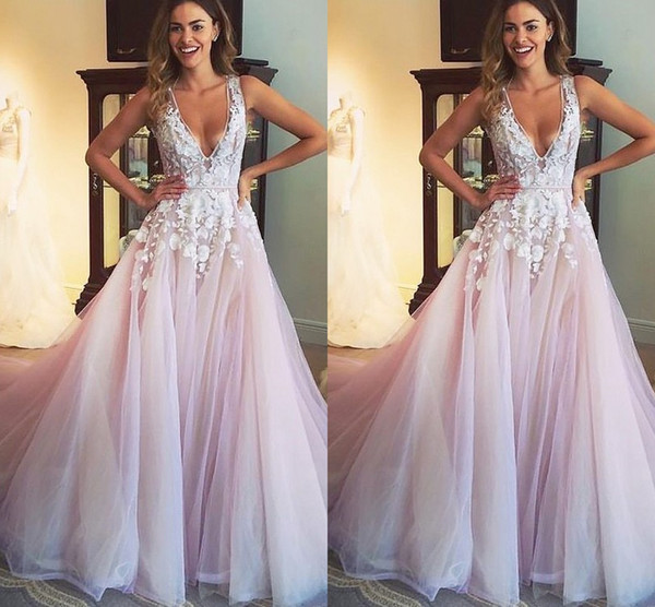 3D Floral Applique Prom Dresses A-line 2019 Sexy Deep V-neck Lace Draped Empire Waist Evening Gowns Special Occasion Dress For Party Women