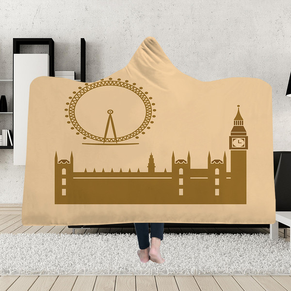 London USA Building wind 3D Hooded Blanket Sherpa Fleece Wearable plush Throw Blanket on Bed Sofa Thick warm