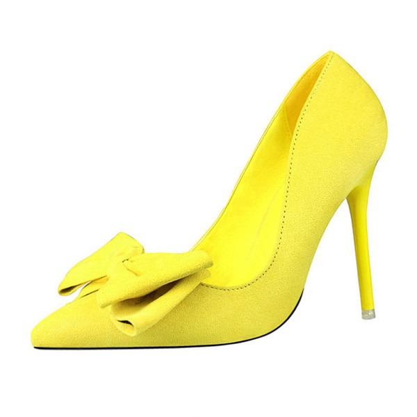 2019 Spring New Korean Fashion Pointed Shallow Mouth High Heels Stiletto Wild Suede Bow Single Shoes Simple Elegant Womens Shoes