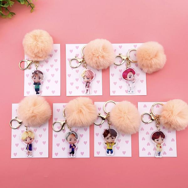 Kpop miembros BTS de dibujos animados bola de pelo Llavero Bangtan Boys lindo llavero Key Holder Jungkook Jimin bolsa de regalo pendiente del encanto del Ejército