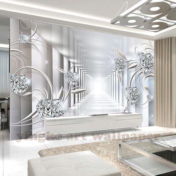 Özel duvar dokunmamış 3d odası duvar kağıdı 3d soyut uzay Avrupa çiçek mücevher titreşimsiz fotoğraf kağıdı duvarlar için 3d