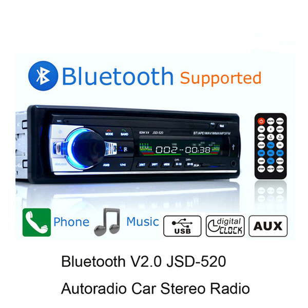 best selling Bluetooth Autoradio Car Stereo Radio FM Aux Input Receiver SD USB JSD-520 12V In-dash 1 din Car MP3 Multimedia Player