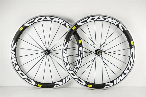 COSMIC Twill White Road Bike Wheelset 3k glossy Clincher Carbon Alloy Wheelset Aluminum bottle cages gift