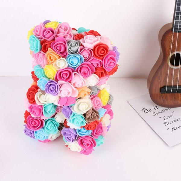 Colorful Foam Artificial Roses Bear Shape Romantic Wedding Anniversary Birthday Valentine Day Christmas Holiday Gift