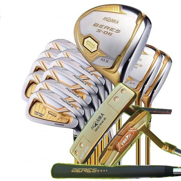 Fast Shipping Complete Set Golf Clubs Honma S-06 4 Stars Driver Woods+Irons+Putter R/S Flex Available Free Headcovers