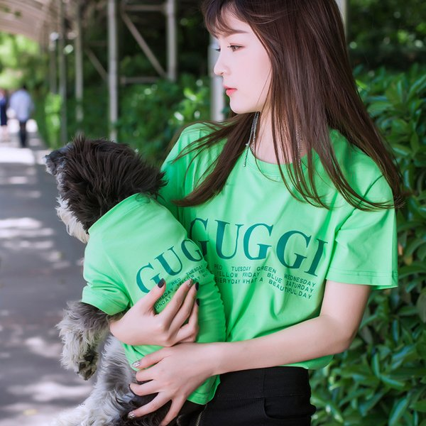 Pet dog clothes Sweater Tide brand pet dog parent-child wear summer thin section T-shirt Teddy law fighting Keji Schnauzer dogs cat clothes