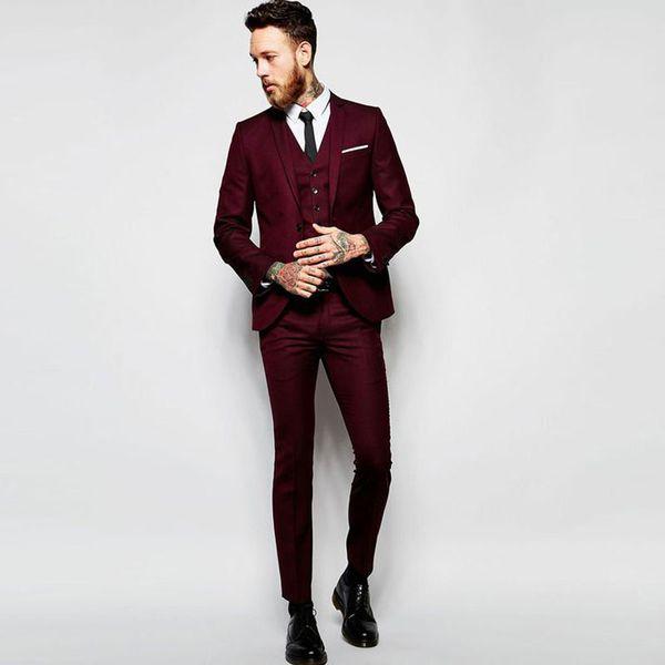 Desinger Burgundy Slim Fit Men Suits Notched Lapel Wedding Suits For Men With Jacket Vest And Pants Groom Tuxedos One Button Blazers