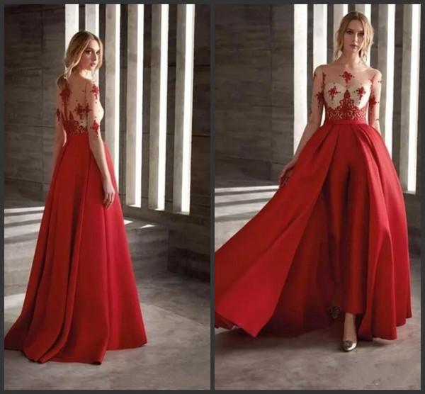 2019 New Red Prom Kleider Mit Abnehmbarem Rock Satin Mode Overall Halb Langarm Cocktailkleid Party Maßgeschneiderte Abendkleider