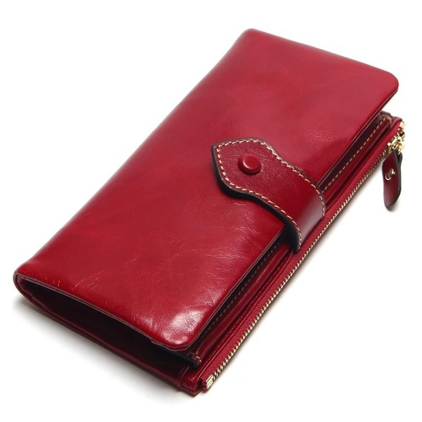 Vintage Leather Women Wallet European And American Style Genuine Leather Wallet Brand Long Lady Purse Cow Leather Female Wallets