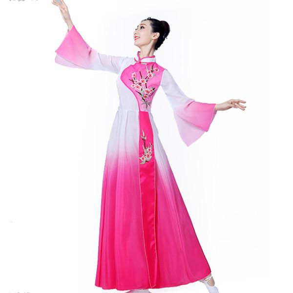 Costumes de danse classique de style chinois Hanfu femme moderne Yangko danse jupe longue costume de ventilateur parapluie