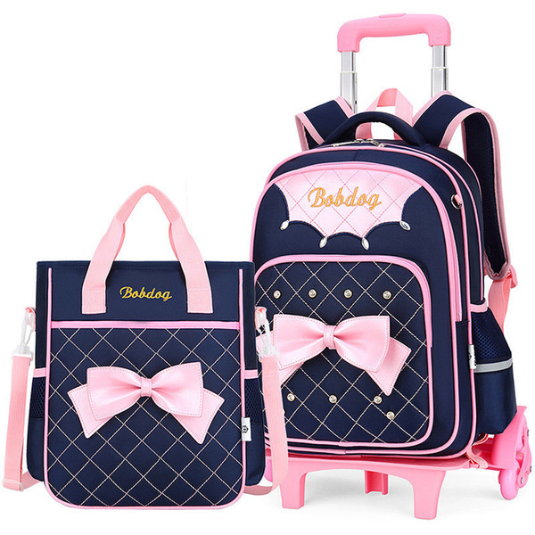 Trolley School Bag For Girls With 3 Wheels Backpack Children Travel Bag Rolling Luggage Schoolbag Kids Mochilas Bagpack Handbag