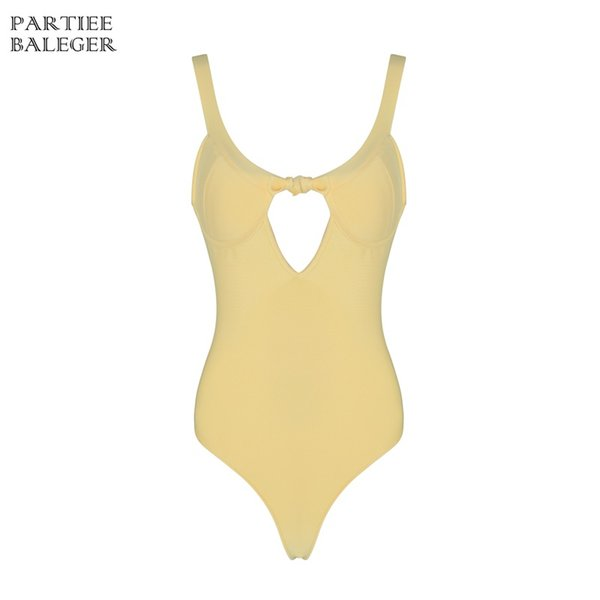 2019 Hot Summer New Chic Bow Design Traje de baño amarillo Sexy Agujero de la correa de espagueti Venta al por mayor Vendaje Body traje de baño