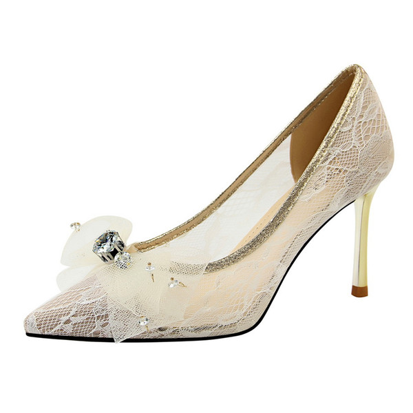 8.5 см Китай стиль женщины симпатичные сетки Боути кружева обувь на высоком каблуке Сексуальная партия свадебные туфли насосы Леди платье обувь 2019 завод Оптовая