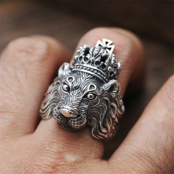 Mens Lion Rings - Metal Punk Carving Lion King Ring per uomo Donna - Cool Rock Designer Jewelry (formato USA 6 - 13)