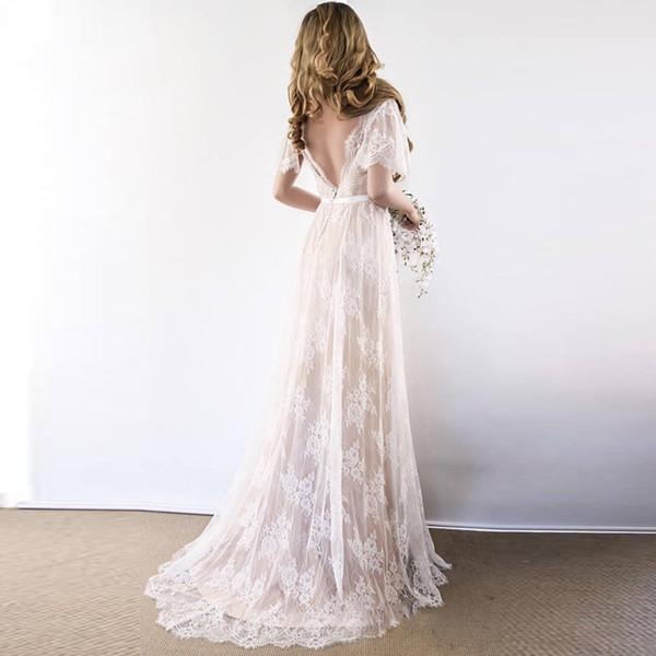 Vestido de novia Boho 2019 V cuello de manga casquillo Vestidos de boda de playa de encaje Barato sin respaldo por encargo vestido de novia