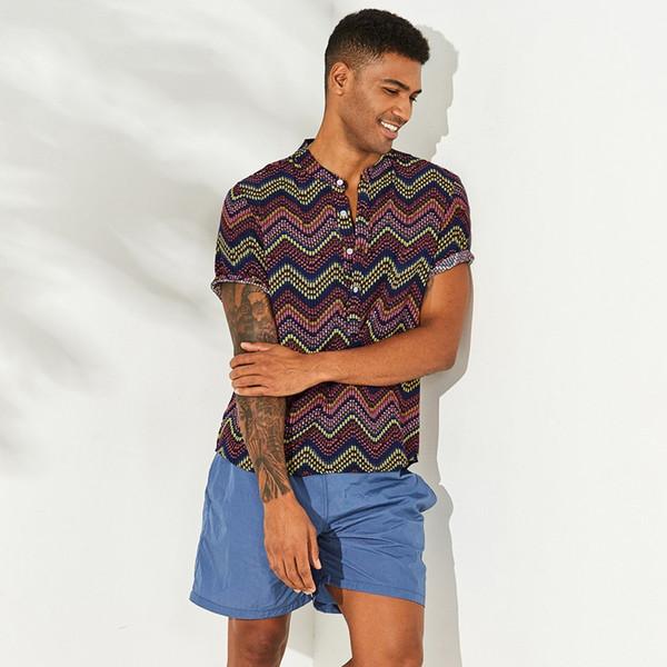 MUQGEW лето повседневная футболка в полоску с принтом Мода мужская этническая принт стойка воротник с коротким рукавом свободные рубашки блузка # g4