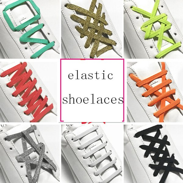 1pair 100CM Stretching Locking no tie lazy shoeLaces sneaker Elastic Rubber Shoe lace children safe elastic shoelace 12 colors