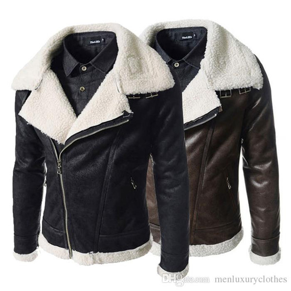 Men Winter Designer Coats Fur Woolen Thick Warm Turtleneck Leather Cashmere Jackets