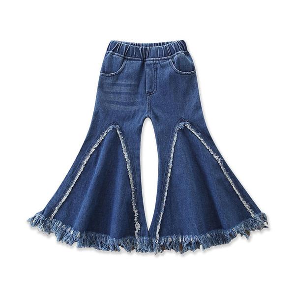 Baby Girl Tassel Jeans Splicing Rag Patchwork Big Boot Cut Wash Brushed Denim Pants Elastic Middle-Waisted Designer Kids Trousers Fall 1-6T