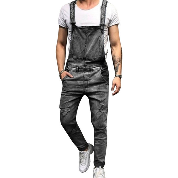 Fashion Strap Ripped Jeans Jumpsuit Men Solid Straight Slim Streetwear Hole Denim Overalls Casual Pocket Summer Jeans Homme