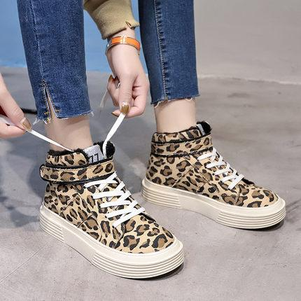Winter Fashion British style student Short Boots Womens Shoes Ankle Boot thick Flat heel Martin Boots Leopard canvas skate shoes casual