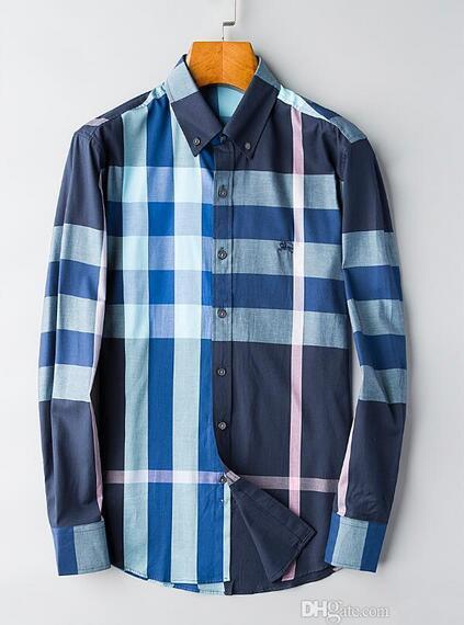 Marca de los hombres de negocios camisa informal de los hombres de manga larga a rayas slim fit masculina social masculina camisetas nueva moda hombre camisa comprobada