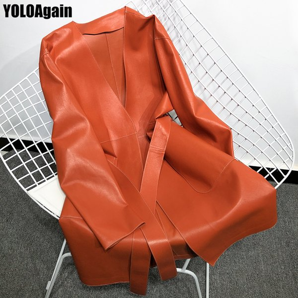 YOLOAgain women genuine leather jacket ladies V-neck long real leather trench coat