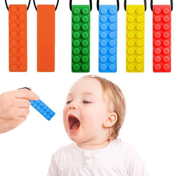 Bebek Silikon diş kaşıyıcınız Tuğla kolye kolye Yumuşak Emzikler Bebek Çiğneme Emzikleri Chewlery Bebekler Oyuncak Hediye 7 Renk HHA1090