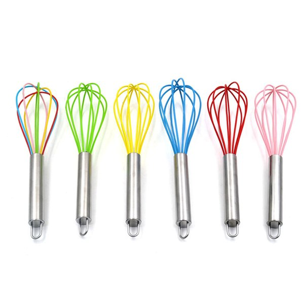 Silicone Whisk, Balloon Whisk Set, Egg Frother, Milk and Egg Beater Blender,Stainless Steel & Silicone Kitchen Whisk