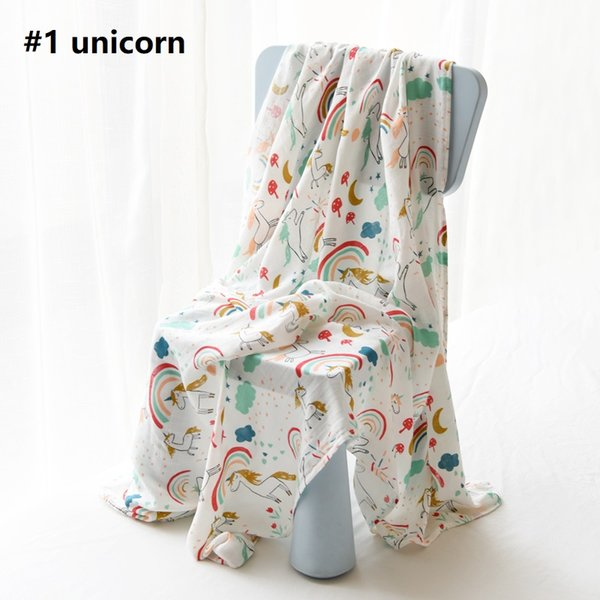 DHL Mermaid Unicorn Soft Bamboo Muslin Swaddle Blanket for Newborn Infant Ins 25 prints Stroller Cover 2layers 120*120cm Quality Box
