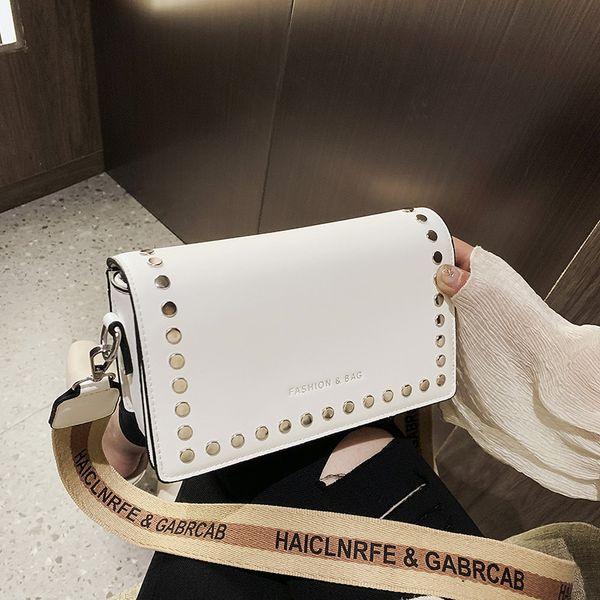 new Fashion Simple Small Square bag Women's Designer Handbag 2019 High-quality PU leather Rivet Wide shoulder strap Shoulder bag