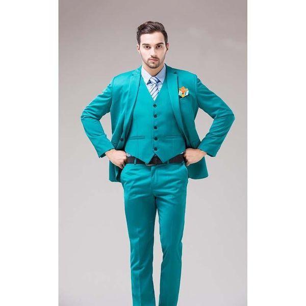 Nice Green Blue Groom Tuxedos Notch Lapel Mens Suits Turquoise Bridegroom Wedding Dinner Best Man Suits (Jacket+Pants+Tie+Vest)