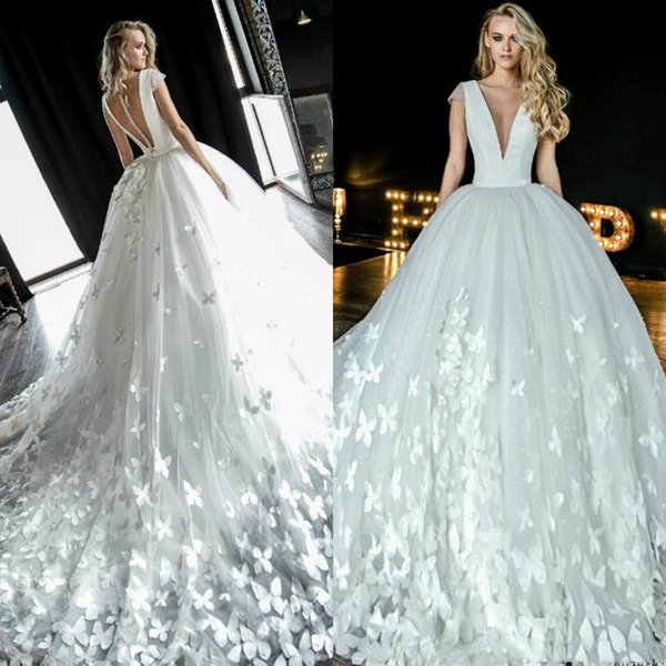 Olivia Bottega 2019 Butterfly Ball Gown Wedding Dresses Deep V Neck Cap Sleeves Romantic Tulle Bridal Gowns Sexy Sheer Back Wedding Dress