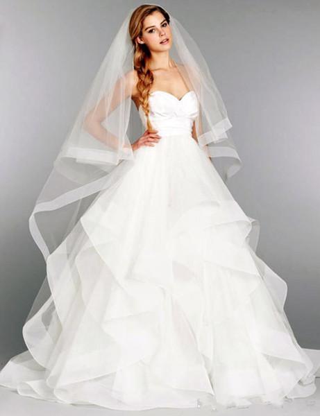 Bridal Gown Custom Made Size Cheap 2019 New White Sexy A-line Ruched Tiered Taffeta Organza Wedding Dress vestidos de novia