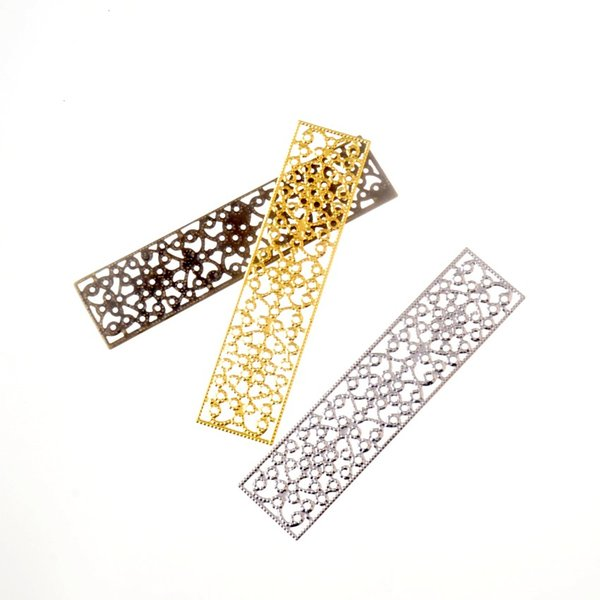 ewelry Accessories Jewelry Findings Components Free shipping 10Pcs Gold/Bronze/Silver Rectangle Filigree Flower Wraps Connectors Metal Cr...