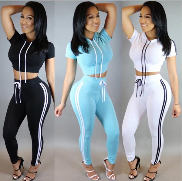 Femmes en gros deux pièces tenues pantalons ensemble sport occasionnels barboteuses combinaison pantalon long 2 pièces ensemble o-cou Crop Tops Survêtements livraison gratuite