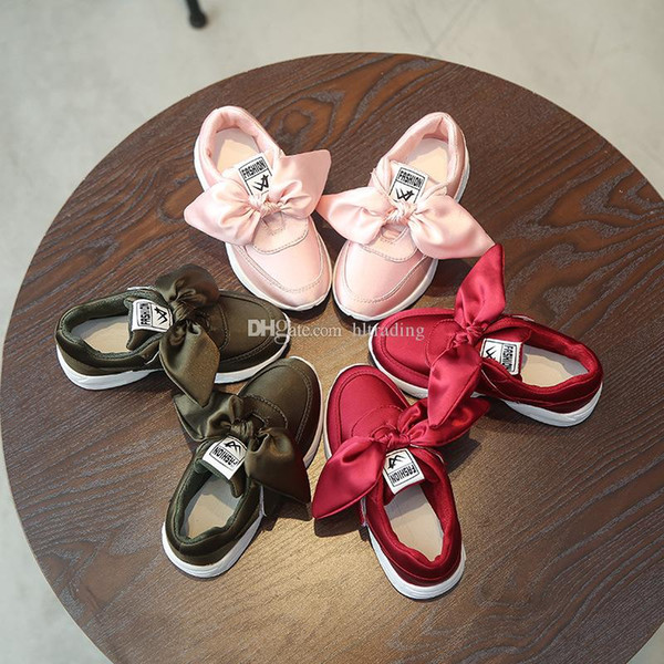 Children Silk Big Bow Shoes For Kids Casual 3 colors Sneakers fashion Autumn Winter Baby Girls sports shoes C6391