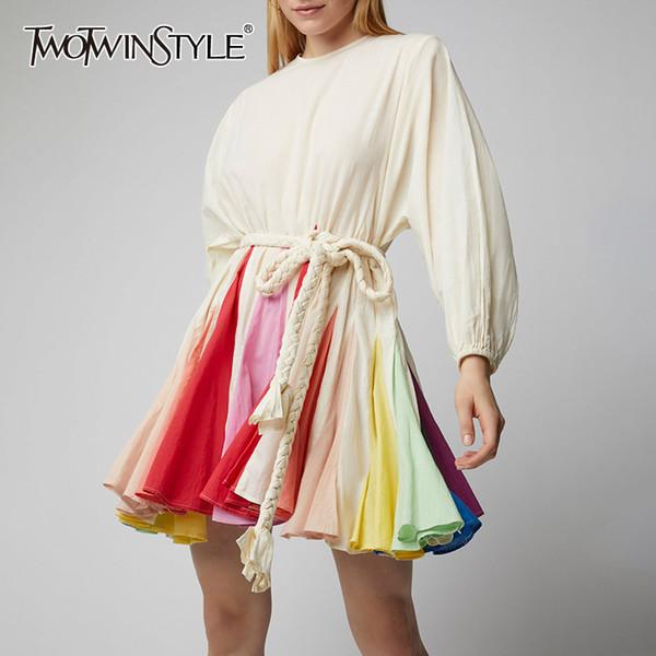 TWOTWINSTYLE Fener Kol Bayan Elbise Hit Renkler Dantel Up Yüksek Bel Patchwork Elbiseler Kadın Bahar Moda 2019 Rahat Yeni