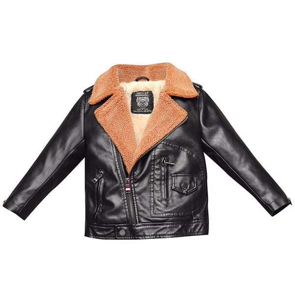 Faux kürk Yürüyor kız kış giysileri Erkek PU Deri Ceketler Çocuk giyim Yaka artı kadife kış ceket Turn-down Yaka