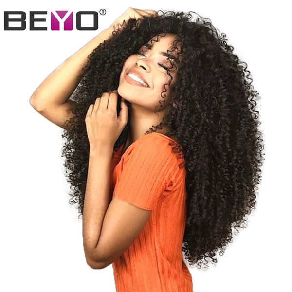 Afro Kinky Curly 13x6 Pelucas delanteras del cordón del pelo humano para la mujer negra Peluca malasia con el pelo del bebé Pre rayado rayita Remy Beyo