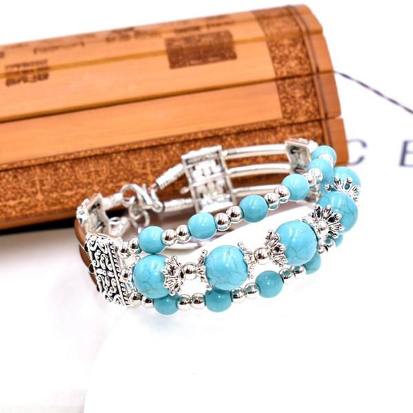 check-out 59e37 338e3 Acheter Bracelet En Pierre Naturelle Turquoise Multicouche Bracelet Style  Européen Et Américain Style Chaud Bracelet Pour Filles Et Femmes De $1.12  Du ...