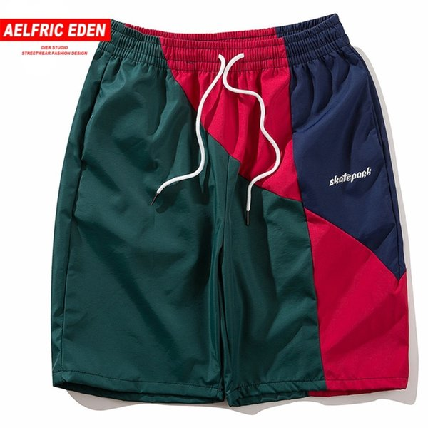 Men Casual Beach Brand Fashion Joggers Male Streetwear Vintage Color Block Patchwork Shorts Sp01 C19041701