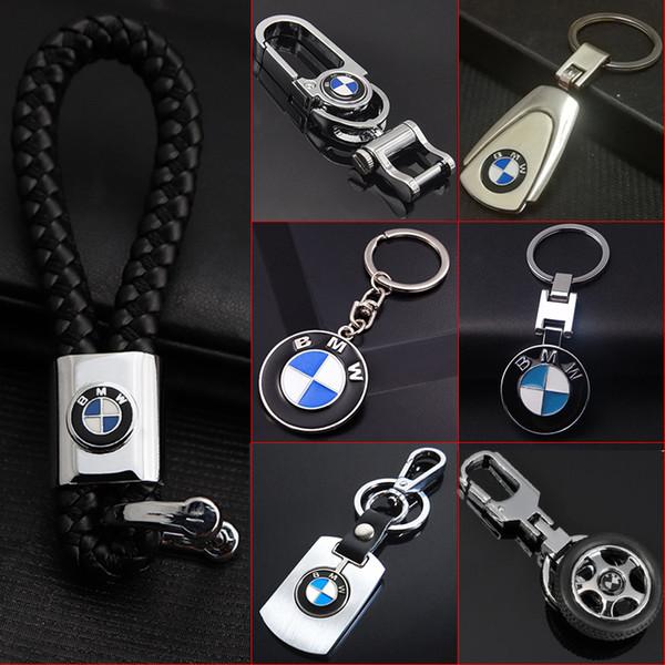 Lindsayflower 3D Leather Metal Car Keyring Keychain For BMW Auto Key Chain Car-styling Key Ring Automotive Keyfob Pendant Car Accessories